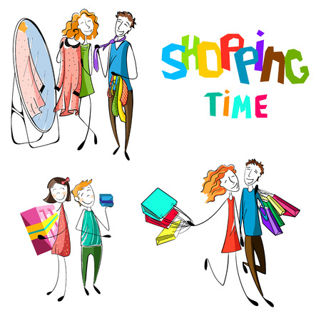 people shopping set. Hand drawn happy people with bags. Kids with presents. Boyfriend and girlfriend are buying. Couple is dressing a dress and tie. Vector illustration 向量圖像