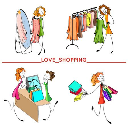 girl shopping set. Hand drawn happy woman with bags, in the shop, near the mirror. Buying a dress. Vector illustration