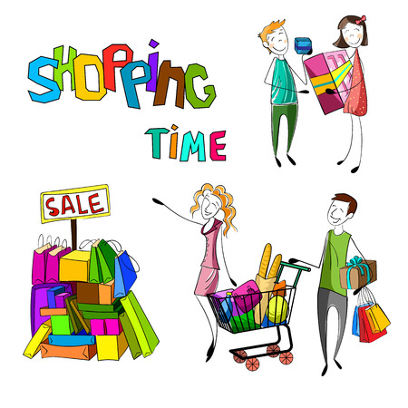 people shopping set. Hand drawn happy family with bags. Kids with presents. Sale products. Vector illustration 向量圖像