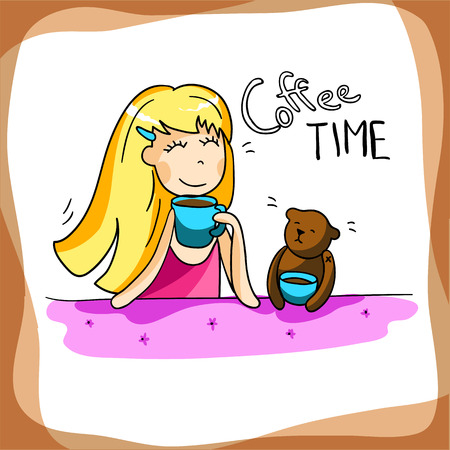 Beautiful girl drinking coffee, enjoy your morning, vector illustration. Cute cartoon girl with her friend teddy