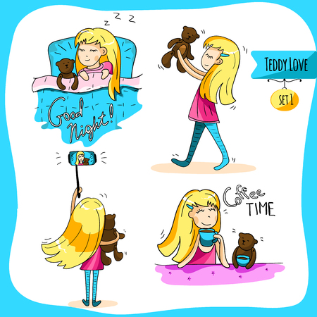 Adorable couple together in different situations - sleeping, selfie, hugging, eat. Cute girl with her funny bear teddy friend. Set of stickers. For cards and design. Vector hand drawn illustration.