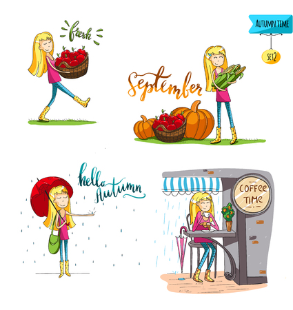 Adorable girl in different situations in fall- carrying apples, with corn, in the cafe, drinking coffee. Set of stickers. For cards and design. Vector hand drawn illustration.