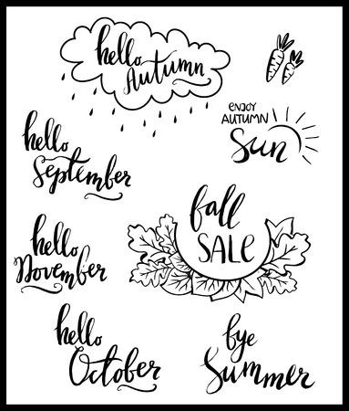 Vector fall sale poster - black and white hand writing. Set of autumn lettering, hello September, October, November. Vector illustration