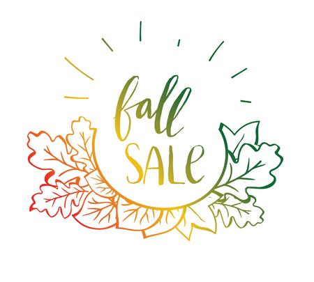 Vector sale poster. Autumn lettering. Vector illustration  イラスト・ベクター素材