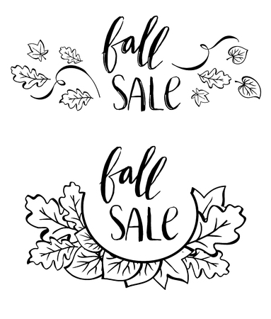 Vector fall sale poster - black and white hand writing. Set of autumn lettering in two variants. Vector illustration  イラスト・ベクター素材