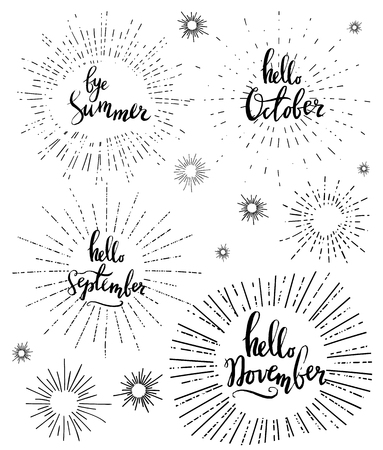 Vector fall sale poster - black and white hand writing with sunburst. Set of autumn lettering, hello September, October, November. Vector illustration