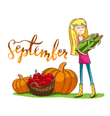 Adorable girl carrying corns. Harvest time in cartoon style. Lettering design. For cards and and design. Vector hand drawn illustration.
