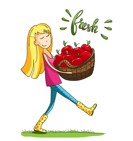 Adorable girl carrying apples. For cards and and design. Vector hand drawn illustration.