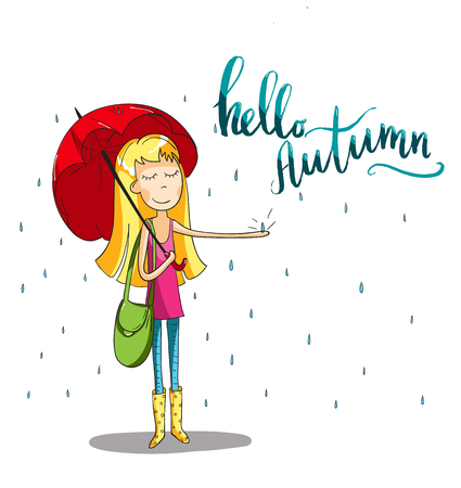 Adorable girl with umbrella at fall. Rainy time in cartoon style. Lettering design. For cards and and design. Vector hand drawn illustration.