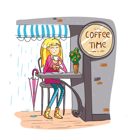 Adorable girl at cafe in cartoon style. Coffee time. Lettering design. For cards and and design. Vector hand drawn illustration.  イラスト・ベクター素材