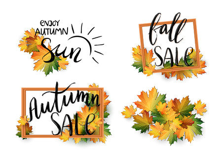 Set of autumn SALE posters in frame design. Fall discount promotion with maple leaves. Bright editable Vector Illustration.
