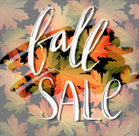Autumn SALE foggy poster design. Fall discount promotion with maple leaves and hand lettering. Bright editable Vector Illustration. 向量圖像