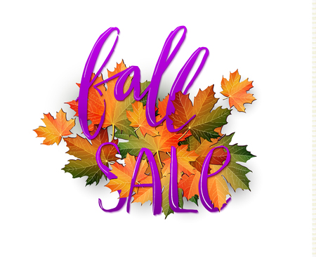 Autumn SALE poster design. Fall discount promotion with maple leaves and hand lettering. Bright editable Illustration.