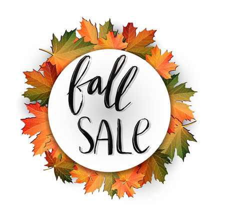 Autumn SALE poster design. Fall discount promotion with maple leaves and hand lettering in frame. Bright editable Illustration.