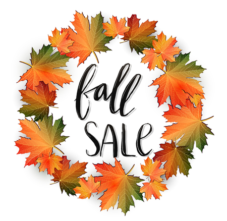 Autumn SALE poster design. Fall discount promotion with maple leaves wreath and hand lettering. Bright editable Illustration.  イラスト・ベクター素材