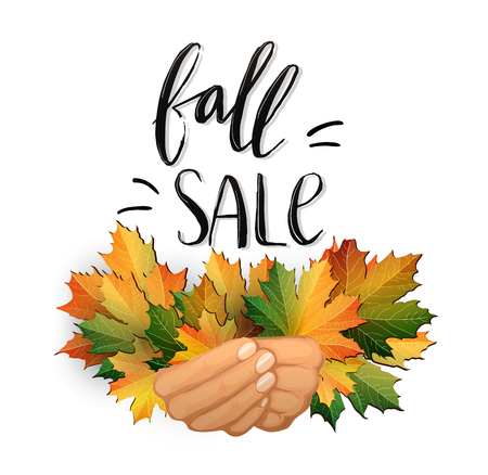 Autumn SALE poster design. Fall discount promotion with maple leaves and hand lettering in hands. Bright editable Vector Illustration.