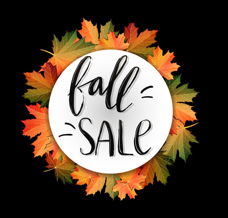 Autumn SALE poster design on black. Fall discount promotion with maple leaves and hand lettering. Bright editable Illustration.  イラスト・ベクター素材
