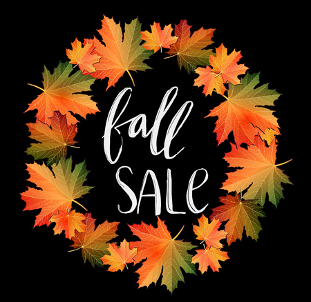 Autumn SALE poster design on black. Fall discount promotion with maple leaves wreath and hand lettering. Bright editable Vector Illustration.