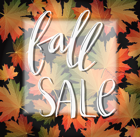 Autumn SALE poster design. Fall discount promotion with maple leaves and hand lettering in frame. Bright editable Vector Illustration.