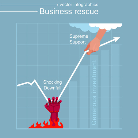 Chart of economic downfall and growth. Illustration