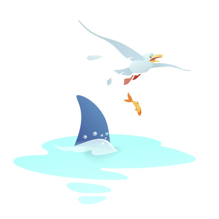 Blue shark appears a fin over the wave and attacks the seagull. A frightened bird tries to escape, losing feathers and dropping a small fish.