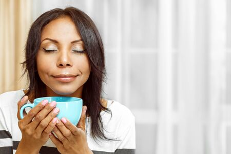 lady: Nice lady enjoying coffee in the morning