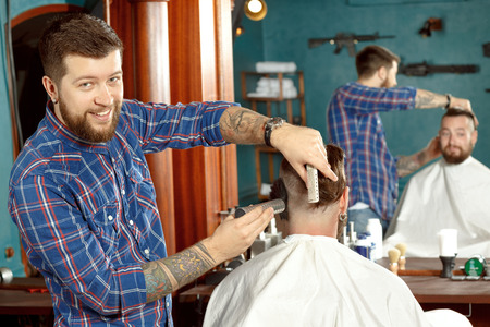 barber shop: New haircut style in barber shop