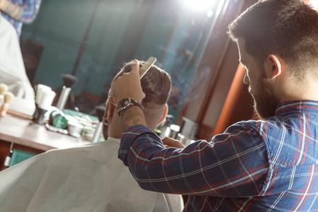 barber: Shaving process in barber shop