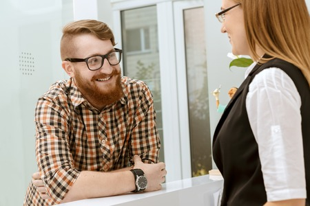 office cabinet: Conversation between the client and the office manager on reception