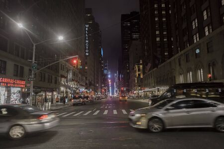 New York City, New York State, 7th Ave, at night time, US