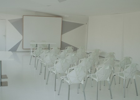 Modern conference hall in white and gray colors