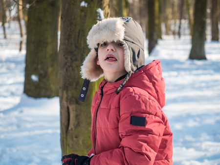 Cute funny little boy in red jacket at winter park background 写真素材