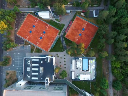 Aerial view tennis courts. Concept of recreation and leisure outdoors. Luxury resort.