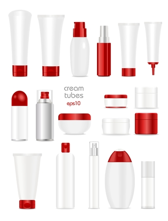 Blank cosmetic tubes on white background. White and red colors. Place for your text.