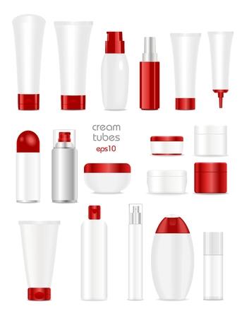 Blank cosmetic tubes auf weißem Hintergrund. Weißen und roten Farben. Platz für Ihren Text. Standard-Bild - 40972378