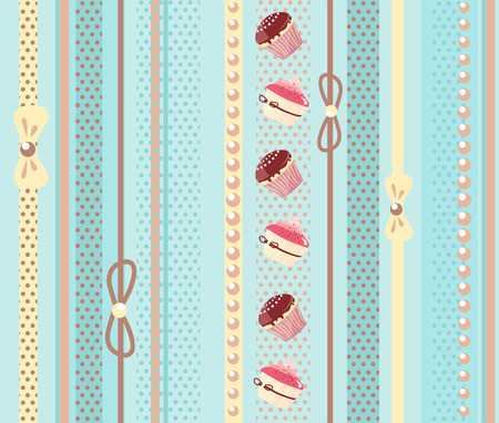 sweet background: Sweet cake seamless background with vertical stripes. Vector