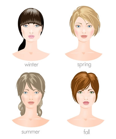 black hair blue eyes: Four woman faces with different appearance.
