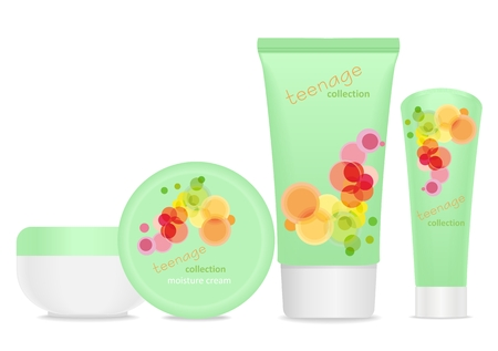 wash face: Four cosmetic tubes with  colorful teenager design. Place for your text. vector Illustration