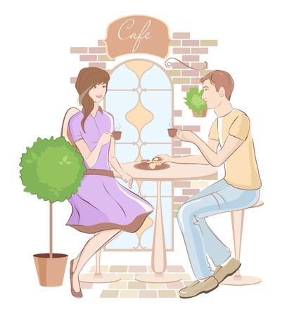 woman eating: Girl and boy chatting at a cafe. Retro style. Vector