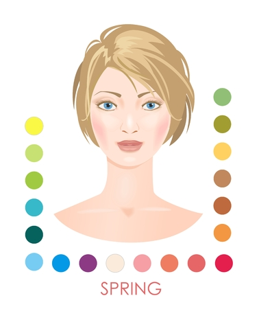 Seasonal woman type with color palette. Spring. Illustration