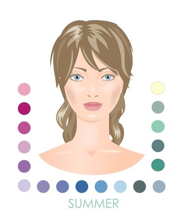 color palette: Seasonal woman type with color palette. Summer.