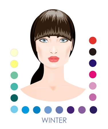 color image: Seasonal woman type with color palette. Winter. Illustration