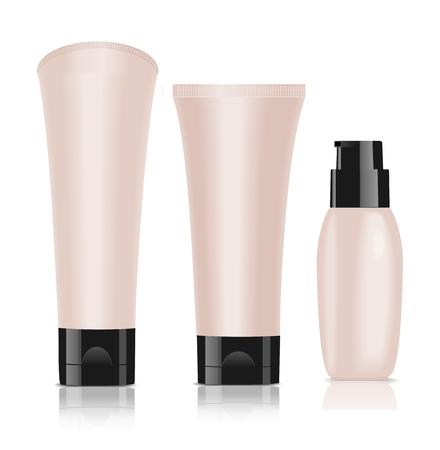 llanura: Tres envases cosméticos en blanco. Crema Fundación. Blanco aislado. Ilustración vectorial Vectores