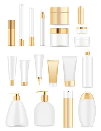 champu: Conjunto de tubos de cosméticos aislados en blanco. El oro y los colores blancos. Lugar para el textVector