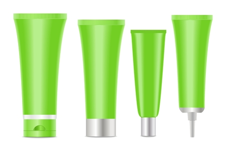 hair mask: Green blank cosmetic tubes  on white background.  Place for your text. Vector illustration Illustration