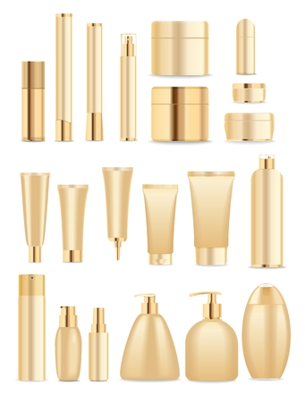 champ�: Conjunto de tubos de cosm�ticos aislados en blanco. El oro y los colores blancos. Lugar para el textVector