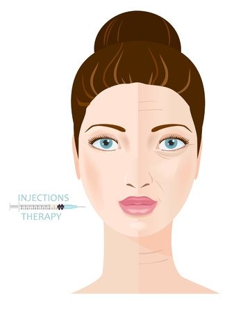 facial care: Rejuvenation and anti-aging therapy. Collagen injection. Infographic. Vector
