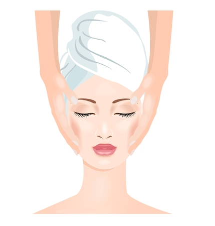 Woman in spa salon. Face massage.  Vector