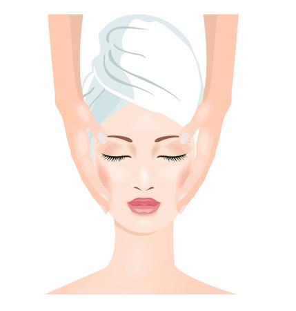 facial massage: Woman in spa salon. Face massage.  Vector