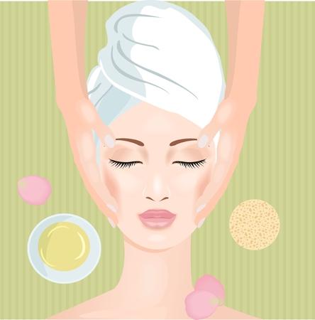 masaje: Mujer en el sal�n del balneario. Masaje de cara. Vector